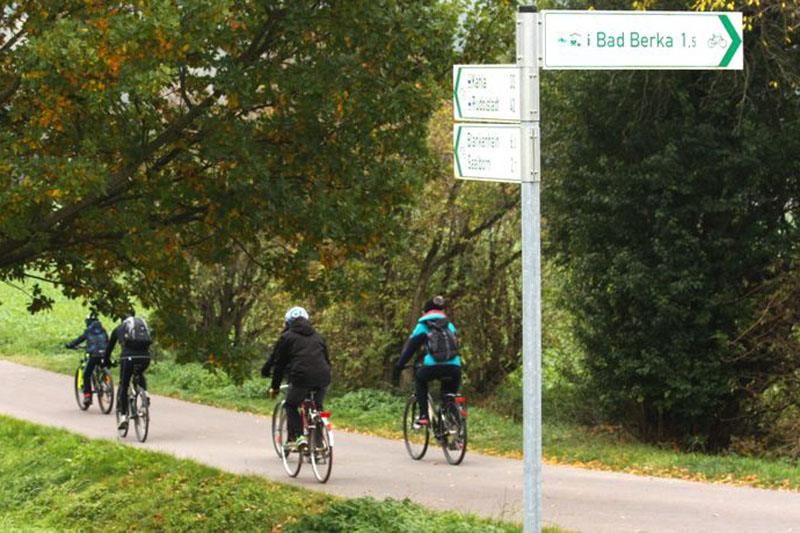 Der asphaltierte Radweg führt uns nun entlang zahlreicher Obstbäume, Schlehenbüsche, Hagebutten- und Weißdornsträucher