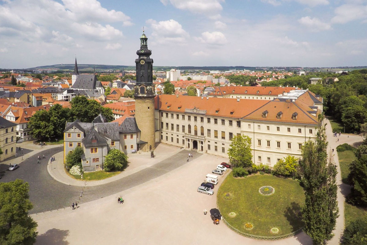Luftaufnahme aus Süden - Stadtschloss, Weimar | © Paul Hentschel, Lutherweg, TTG