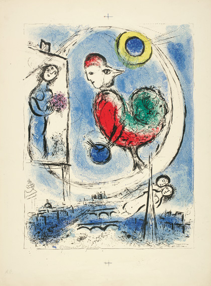 Marc Chagall, Liebespaar mit roter Sonne, 1960, Farblithografie